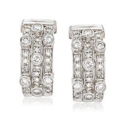 C. 1990 Vintage 1.50 ct. t.w. Diamond Three-Row Hoop Earrings in 18kt White Gold, , default