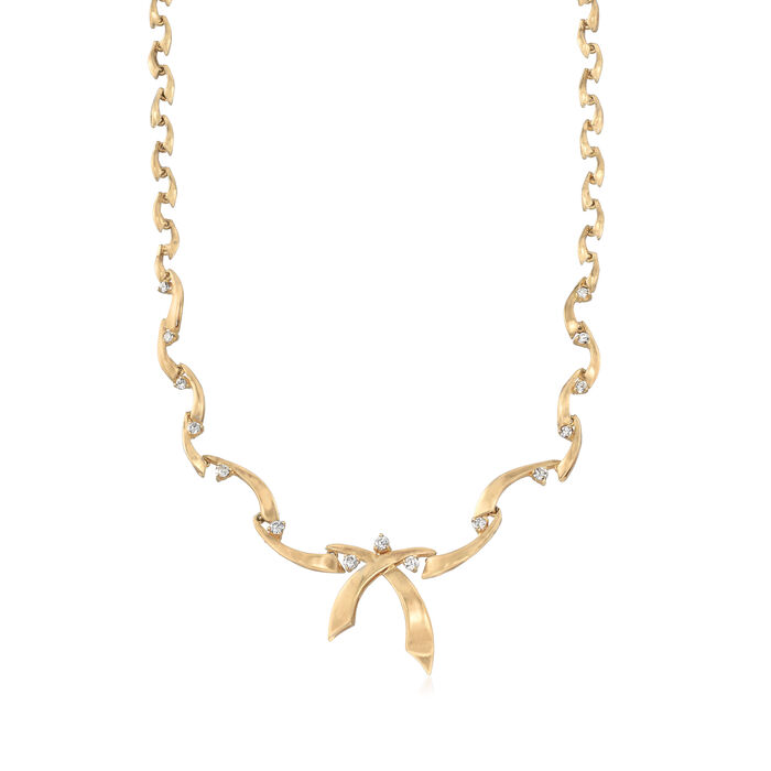 """C. 1990 Vintage .90 ct. t.w. Diamond Ribbon Necklace in 14kt Yellow Gold. 16"""""""