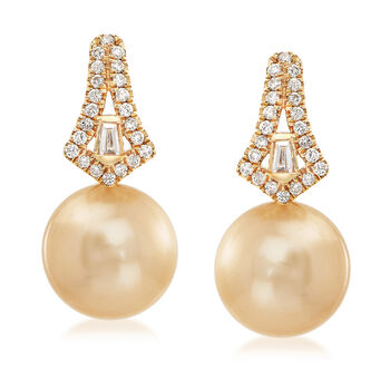 11.5-12mm Golden Cultured South Sea Pearl and .36 ct. t.w. Diamond Drop Earrings in 18kt Yellow Gold, , default