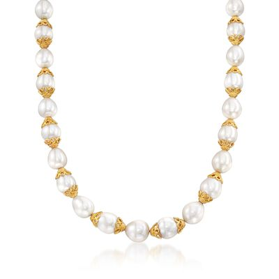 10-12mm Cultured Pearl Necklace with Lacy 18kt Gold Over Sterling Caps, , default