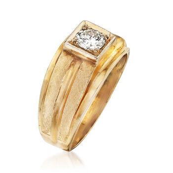 C. 1970 Vintage Men's .60 Carat Diamond Ring in 14kt Yellow Gold. Size 10