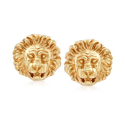 Italian 18kt Yellow Gold Lion Head Clip-On Earrings, , default