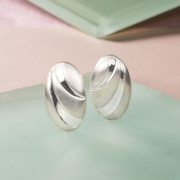 Sterling Silver Brushed and Polished Oval Clip-On Earrings, , default