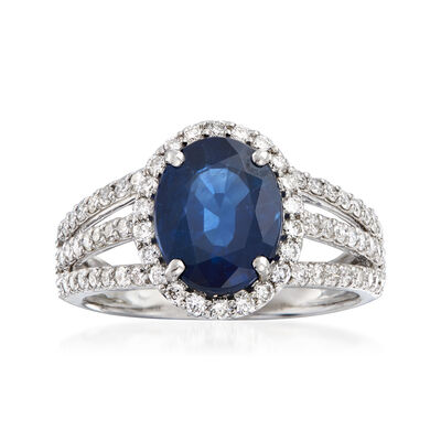 3.20 Carat Sapphire and .82 ct. t.w. Diamond Triple-Shank Ring in 18kt White Gold, , default