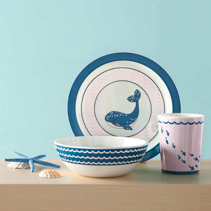 "3-pc. Reed and Barton ""Mystic Sea"" Navy and Pink Whale Child's Dinnerware Set"