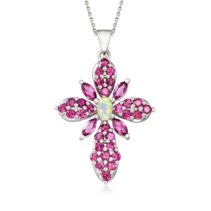 "Ethiopian Opal and 3.80 ct. t.w. Rhodolite Garnet Cross Pendant Necklace in Sterling Silver. 18"""