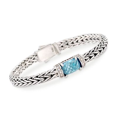 "Phillip Gavriel ""Woven"" 4.50 Carat Blue Topaz and .30 ct. t.w. White Sapphire Link Bracelet in Sterling Silver, , default"