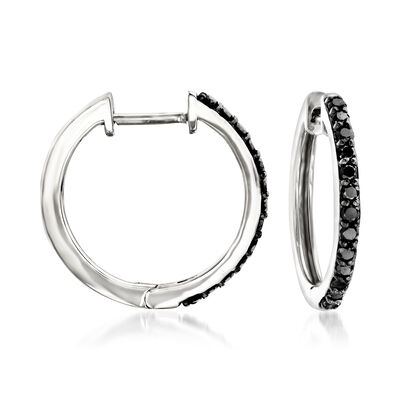 .25 ct. t.w. Black Diamond Hoop Earrings in 14kt White Gold