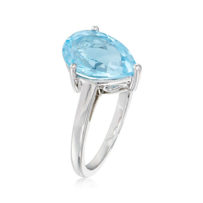 3.60 Carat Pear-Shaped Sky Blue Topaz Ring in Sterling Silver