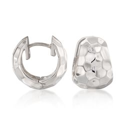 "Zina Sterling Silver ""Sahara"" Hammered Hoop Earrings. 1/2"", , default"