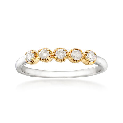 .25 ct. t.w. Diamond Five-Stone Ring in Sterling Silver with 14kt Yellow Gold, , default