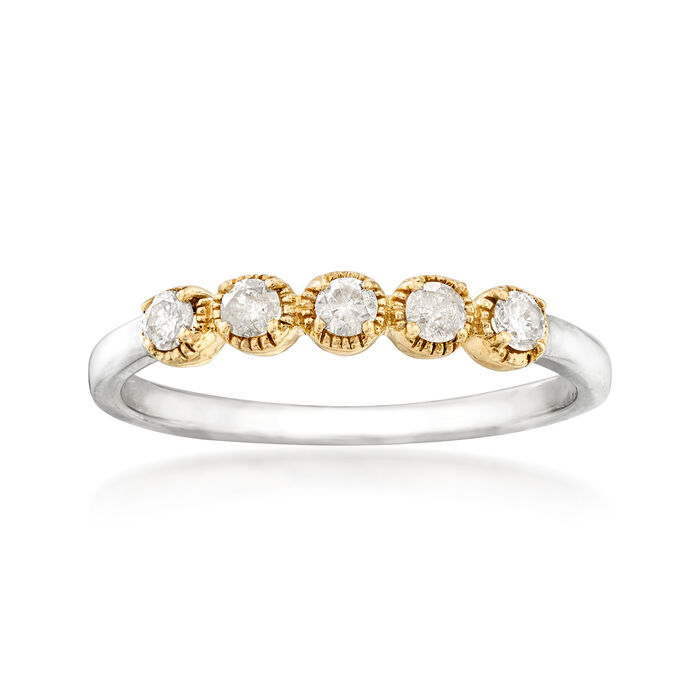 .25 ct. t.w. Diamond Five-Stone Ring in Sterling Silver with 14kt Yellow Gold