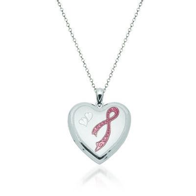 "Sterling Silver Breast Cancer Awareness Heart Locket Necklace with Pink Enamel. 18"", , default"