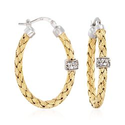 "Charles Garnier ""Torino"" .20 ct. t.w. CZ Oval Hoop Earrings in Two-Tone Sterling Silver, , default"