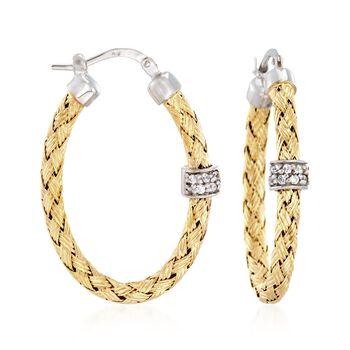 "Charles Garnier ""Torino"" .20 ct. t.w. CZ Oval Hoop Earrings in Two-Tone Sterling Silver. 1 1/4"", , default"