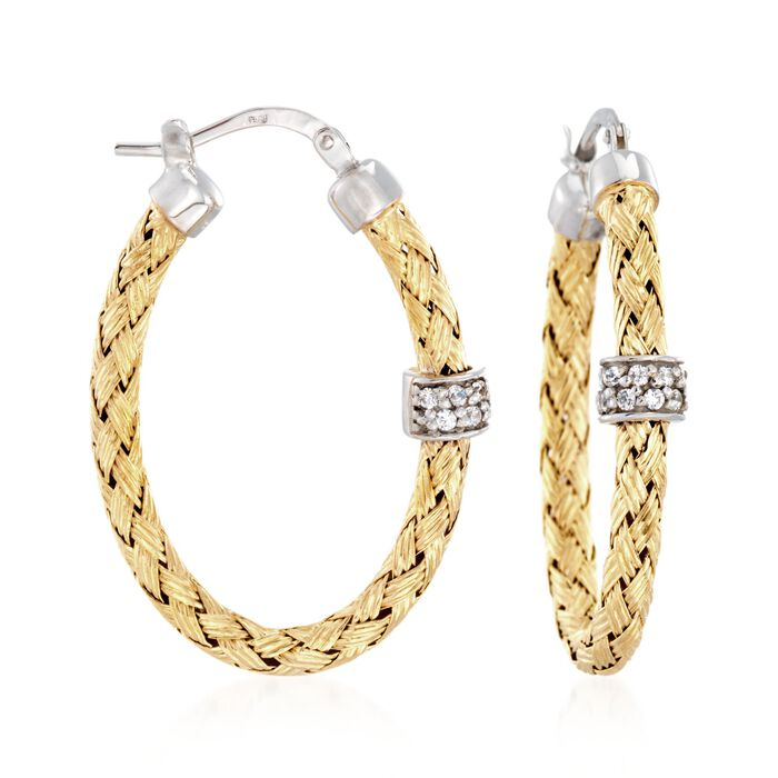"Charles Garnier ""Torino"" .20 ct. t.w. CZ Oval Hoop Earrings in Two-Tone Sterling Silver. 1 1/4"", , default"