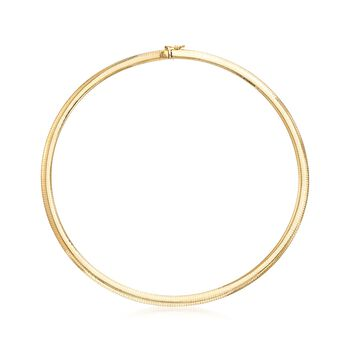 Italian 6mm 18kt Yellow Gold Omega Necklace, , default