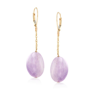 40.00 ct. t.w. Amethyst Bead Drop Earrings in 14kt Yellow Gold, , default