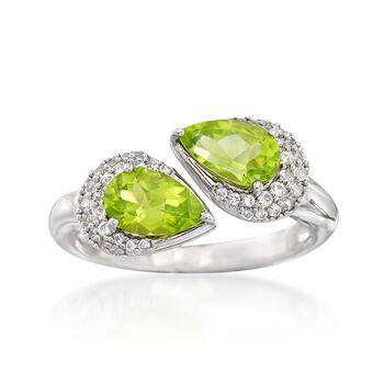2.00 ct. t.w. Peridot and .44 ct. t.w. White Zircon Bypass Ring in Sterling Silver, , default