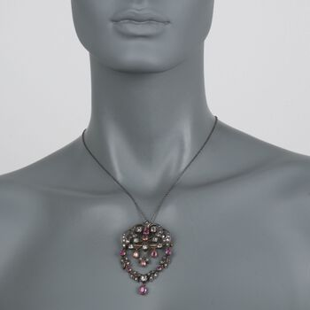"""C. 1970 Vintage 2.20 ct. t.w. Ruby and 3.20 ct. t.w. Diamond Pin Pendant Necklace in Sterling Silver and 18kt Gold. 18"""", , default"""