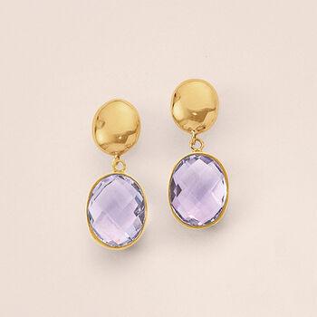 5.00 ct. t.w. Amethyst Drop Earrings in 14kt Yellow Gold, , default