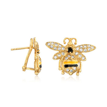 Italian .95 ct. t.w. CZ and Black and Yellow Enamel Bee Earrings in 18kt Gold Over Sterling, , default