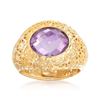 Italian 3.50 Carat Amethyst Ring in 18kt Yellow Gold, , default