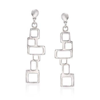 Italian Sterling Silver Geometric Drop Earrings, , default