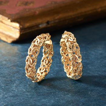 """Italian 18kt Yellow Gold Byzantine Hoop Earring. 1 1/4"""", , default"""