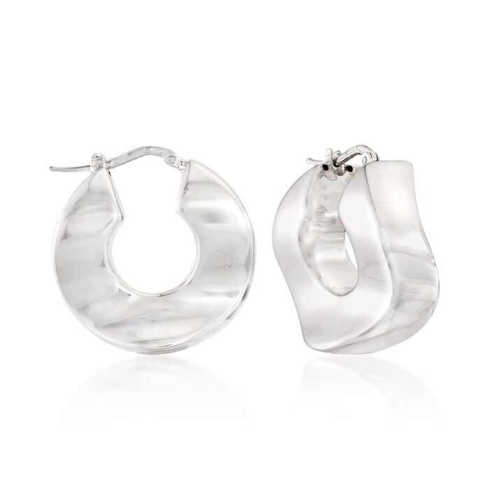 "Italian Sterling Silver Wide Wavy Hoop Earrings. 1"", , default"