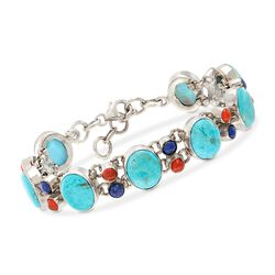 "Turquoise and Multi-Stone Bracelet in Sterling Silver. 7"", , default"