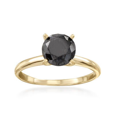 2.00 Carat Black Diamond Solitaire Ring in 14kt Yellow Gold, , default