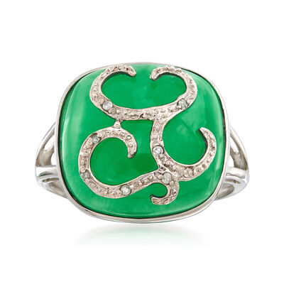 Green Jade Cabochon Ring with Diamond Accents in 14kt White Gold, , default