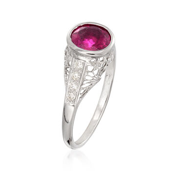 C. 1990 Vintage 1.15 Carat Pink Tourmaline and .20 ct. t.w. Diamond Filigree Ring in 14kt White Gold. Size 7, , default