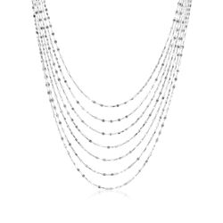 "Italian Sterling Silver Seven-Strand Waterfall/Lariat Necklace. 18"", , default"