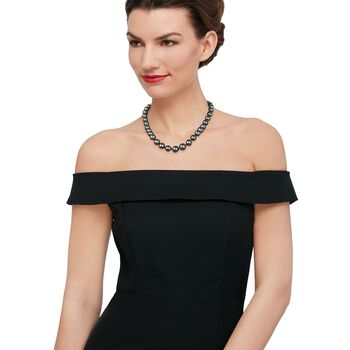 """11-15mm Black Cultured South Sea Pearl Necklace with Diamond Accents and 14kt White Gold. 18"""""""