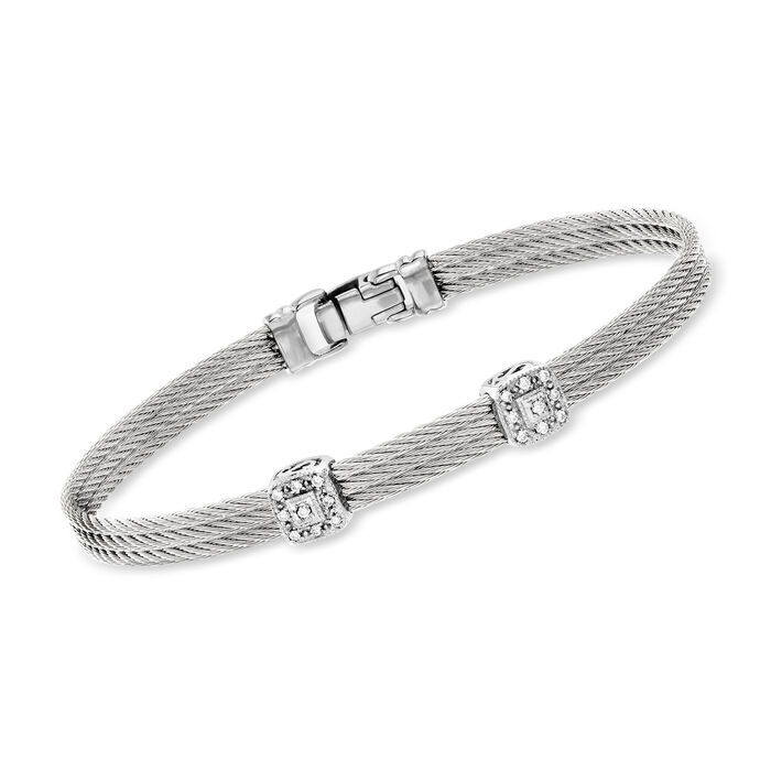 "ALOR ""Classique"" Gray Cable Bracelet with Diamond Accents and 18kt White Gold. 7"""
