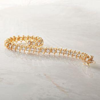 "5.00 ct. t.w. Diamond S-Link Bracelet in 14kt Yellow Gold. 7"", , default"