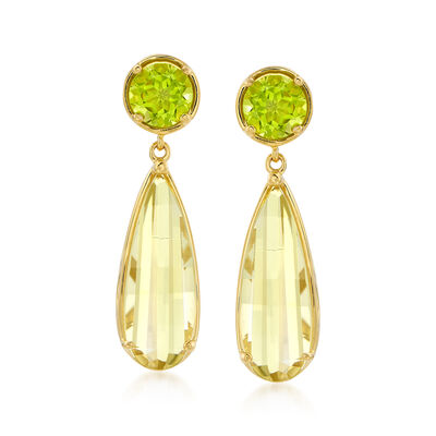9.20 ct. t.w. Lemon Quartz and 3.40 ct. t.w. Peridot Drop Earrings in 18kt Gold Over Sterling