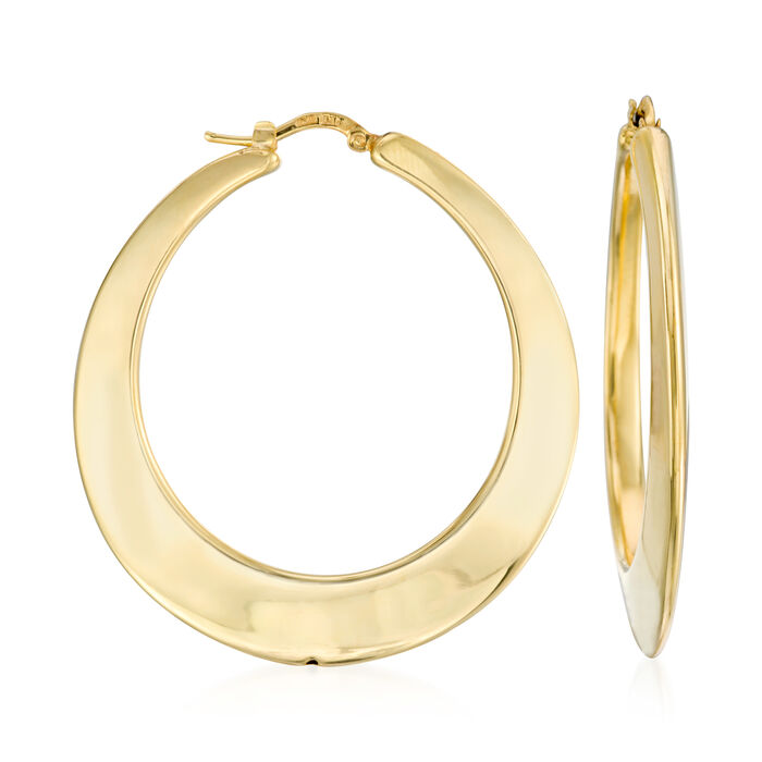 Italian 14kt Yellow Gold Hoop Earrings. <span class='nowrap'>1 3/4&quot;</span>, , default