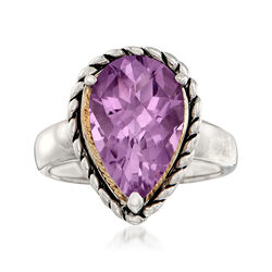 5.00 Carat Amethyst Roped Ring in Sterling Silver and 14kt Yellow Gold, , default