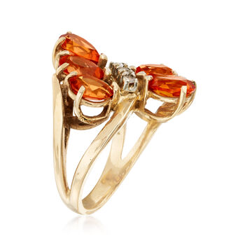 C. 1980 Vintage 4.50 ct. t.w. Orange Garnet Ring with White Topaz Accents in 10kt Yellow Gold. Size 5.5, , default