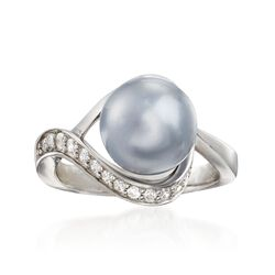 "Belle Etoile ""Liliana"" 10mm Gray Simulated Pearl and .20 ct. t.w. CZ Swirl Ring in Sterling Silver. Size 7, , default"
