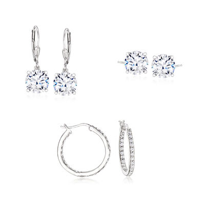 12.00 ct. t.w. CZ Jewelry Set: Hoop, Stud and Drop Earrings in Sterling Silver