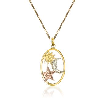 "14kt Tri-Colored Gold Sun, Moon and Stars Pendant Necklace. 18"", , default"