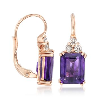 6.25 ct. t.w. Amethyst and .38 ct. t.w. Diamond Earrings in 14kt Rose Gold , , default