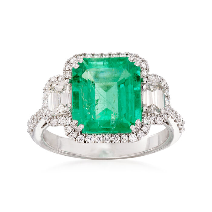 3.70 Carat Emerald and 1.14 ct. t.w. Diamond Ring in 18kt White Gold. Size 7.5, , default