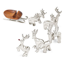 Nambe 10-pc. Miniature Reindeer and Sleigh Set, , default
