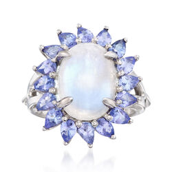 Moonstone and 2.10 ct. t.w. Tanzanite Ring in Sterling Silver, , default