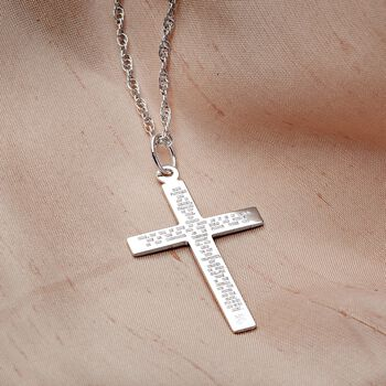 Men's Sterling Silver Lord's Prayer Reversible Cross Pendant Necklace. 22""